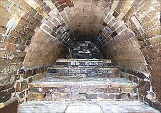 Inside an anagama kiln