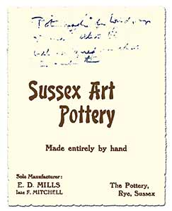 Sussex Art Pottery business card