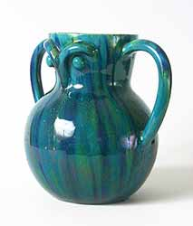 Blue/green two-handled vase