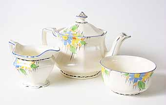 Teapot, sugar bowl and milk jug