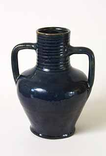 Two-handled blue vase