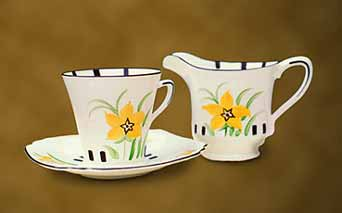 Clarice Cliff cup, saucer and milk jug
