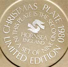 Hornsea Christmas plate - 1980 (mark)