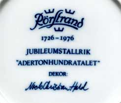 Rorstrand Jubilee plates (mark)