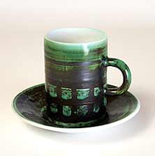 Green Cinque Ports cup and saucer