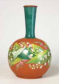 Hand painted terracotta bottle