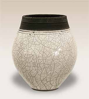 Wheeldon white raku vase