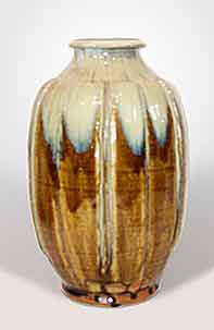 Ash glazed ribbed vase