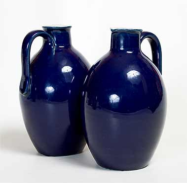 Pair of blue Doulton jugs