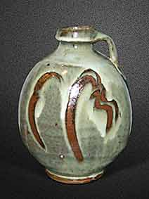 Handled white ash glaze vase