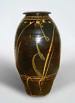 Large brown Bowen jar
