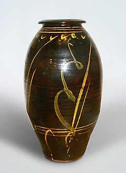 Large brown Bowen jar