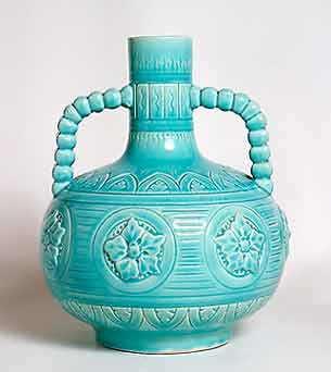 Two-handled Burmantofts vase