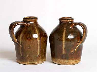 Pair of stoneware bottles