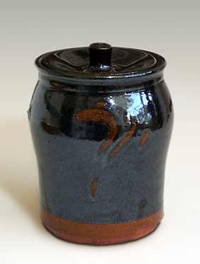 Dark lidded jar by Andrew Marshall