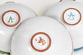 Caiger-Smith Repeat Ware bowls (marks)