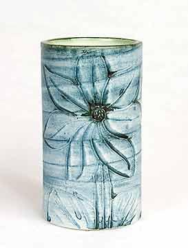 Blue cylindrical Carn vase