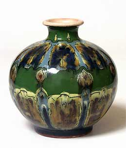 Green decorated globe vase