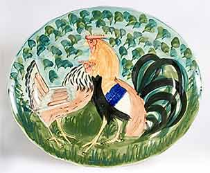 Oxney Green rooster platter