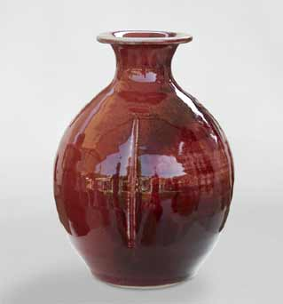 Red Amanda Brier bottle vase