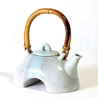 David White crackle-glazed teapot