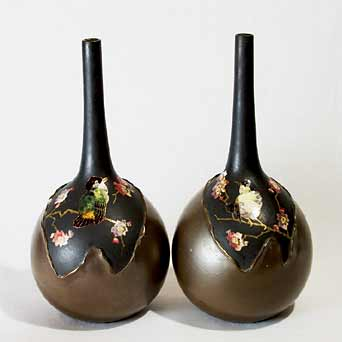Bretby bronze cloisonne vases