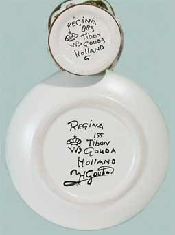 Gouda miniature jug and dish (marks)