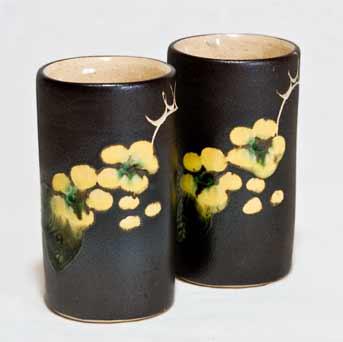 Two Marazion cylinder vases