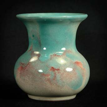 Turquoise and pink Saunders IOW vase