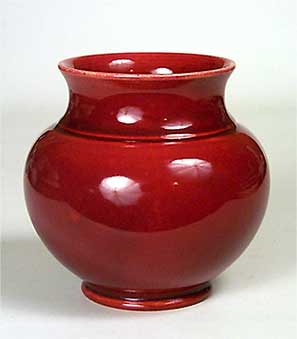 Rich red Burmantofts vase