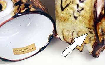 Lidded Chelsea owl pot (marks)