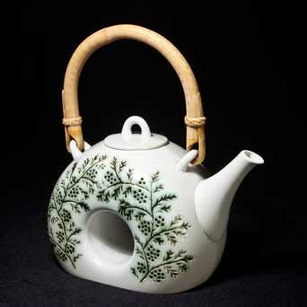David White decorated teapot