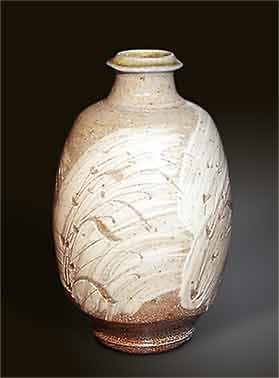 Phil Rogers sgraffito bottle vase