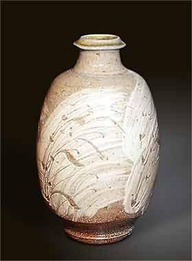 Phil Rogers sgraffito bottle vase