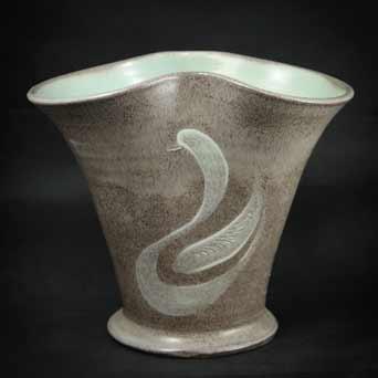 Fishley Holland swan vase